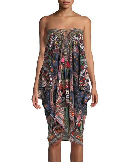 Lace-Up Printed Silk Kaftan, One Size