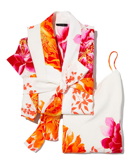Bali Floral-Print Long Robe
