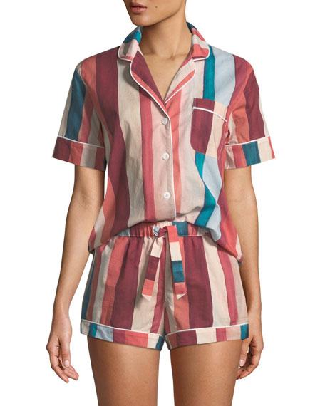 Desmond & Dempsey Striped Shorty Pajama Set