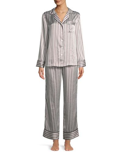 Two-Piece Candy Stripe Silk Pajama Set