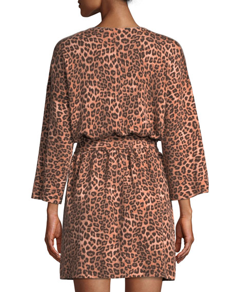 Neiman Marcus Cashmere Collection Cashmere Leopard-Pattern Short Robe