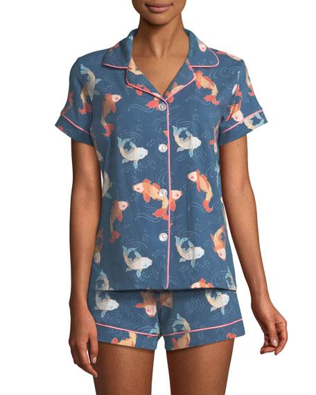 Printed Knit Shortie Pajama Set