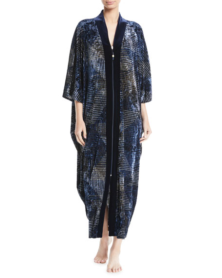 Diamond Tea Gown Geometric-Print Zip-Front Velvet Lounge Caftan