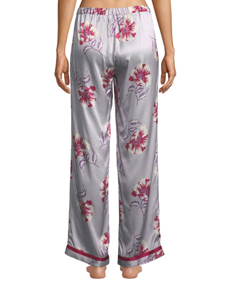 Morgan Lane Esmeralda Chantal Floral Silk Pajama Pants