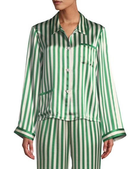 Morgan Lane Ruthie Striped Classic Silk Pajama Top