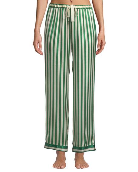 Morgan Lane Chantal Striped Silk Pajama Set