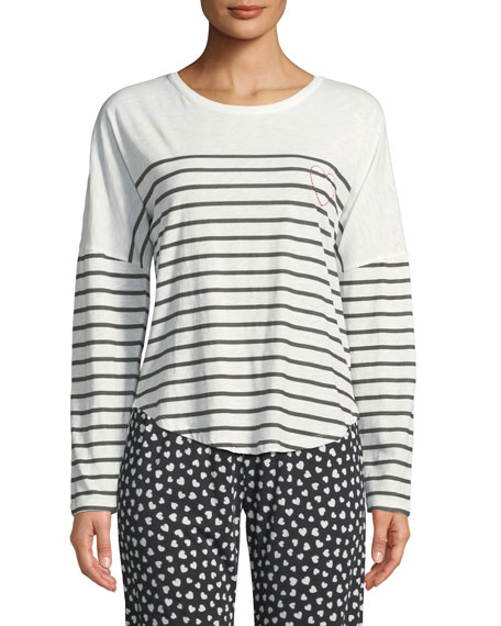 PJ Salvage True Love Long-Sleeve Striped Lounge Shirt