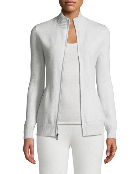 Neiman Marcus Cashmere Collection Cashmere Zip-Front Sweater