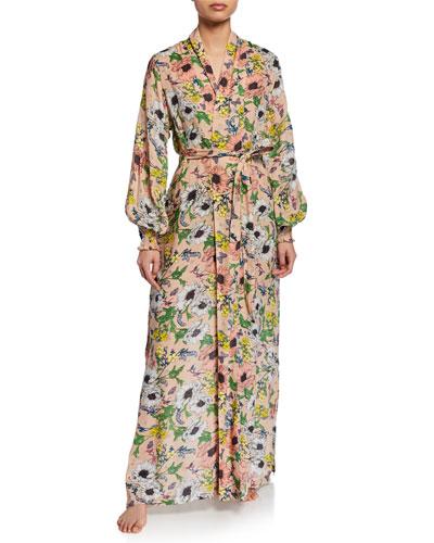 Melina Floral-Print Long Robe