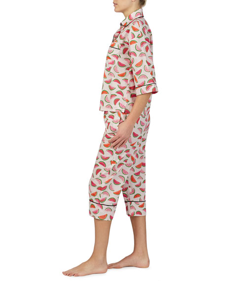kate spade new york lawn watermelon-print crop pajama set