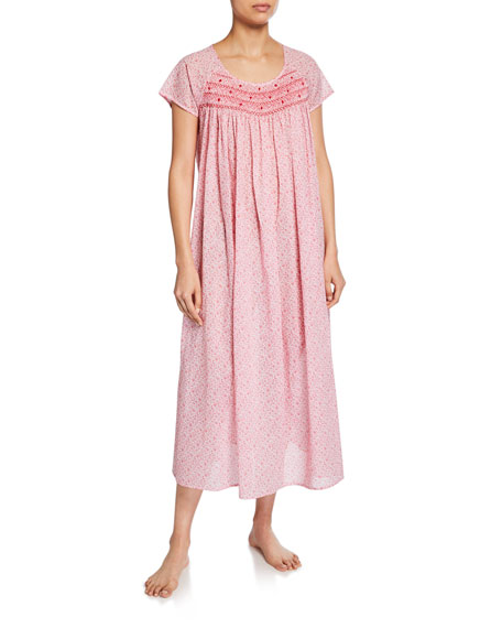 P Jamas Marilu Short-Sleeve Cotton Nightgown
