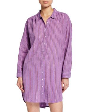 f4a661ad6 Xirena Macyn Striped Long-Sleeve Cotton Sleep Shirt