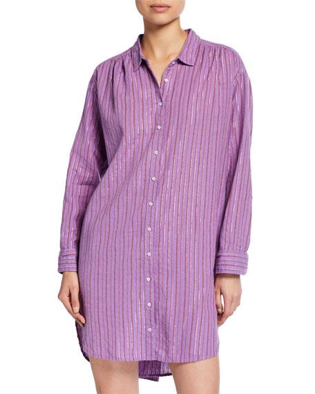 Xirena Macyn Striped Long-Sleeve Cotton Sleep Shirt