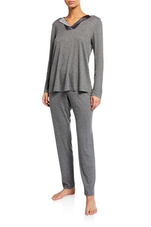 Womens Jersey Cotton Striped PJs Set Ladies Short Sleeve Top 3//4 Bottoms Pyjamas