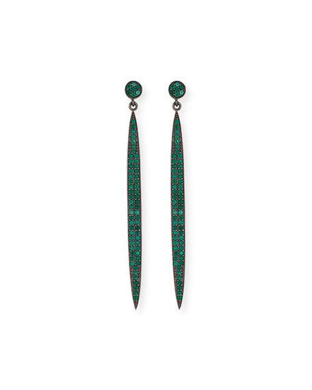 Pavé Green Onyx Spear Earrings