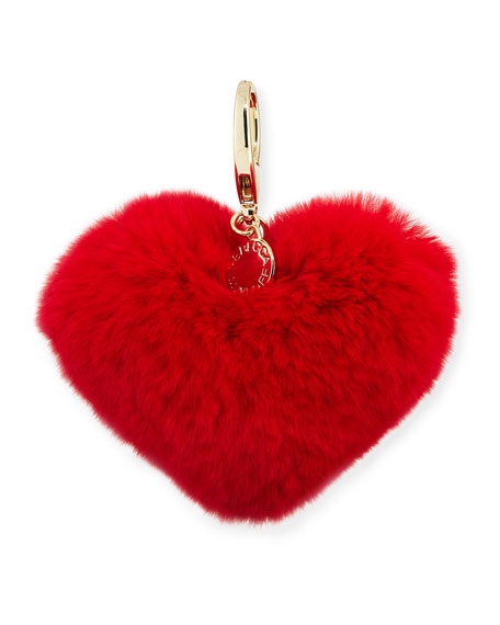 Heart Rabbit-Fur Pompom Bag Charm