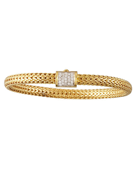 Diamond-Clasp Woven Chain Bracelet