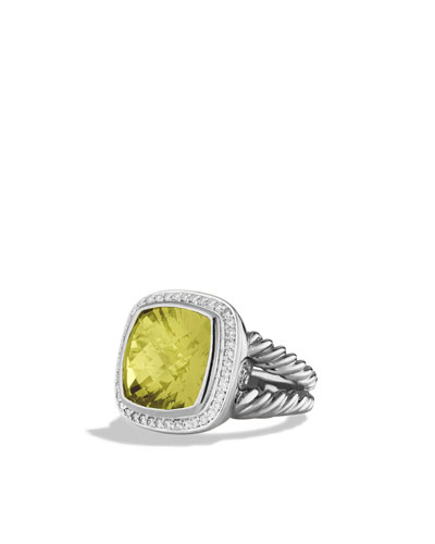David Yurman Albion Ring with Lemon Citrine and Diamonds