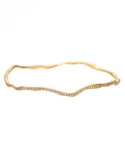 Drizzle Thin Wavy Pave Diamond Gold Bangle