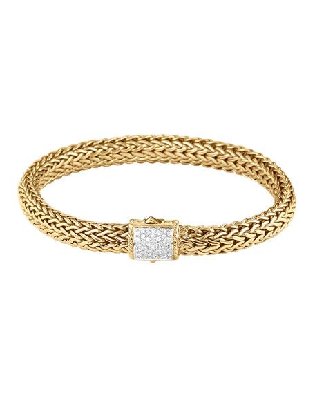 John Hardy Classic Chain Gold Diamond Bracelet Medium