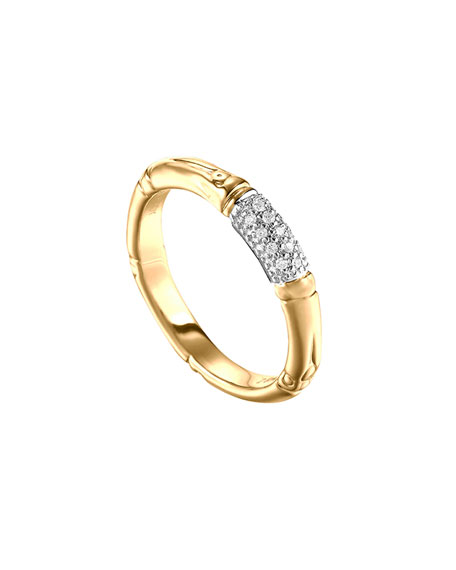 John Hardy Bamboo Slim Diamond Band Ring, Gold