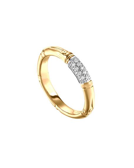 John Hardy Bamboo Slim Diamond Band Ring Gold