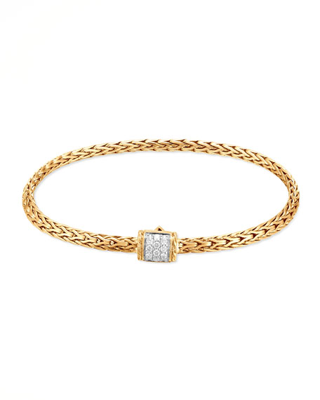 John Hardy 18k Classic Chain Wave Hammered Diamond Pull-Through Bracelet