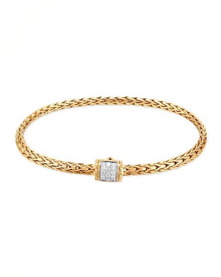 John Hardy Classic 18k Mini Pave Diamond-Clasp Bracelet