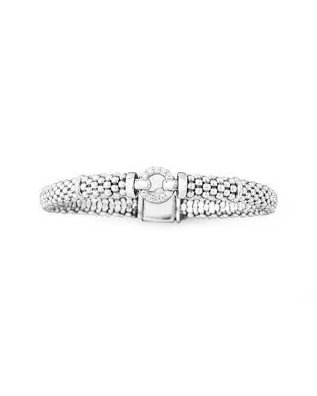 Lagos Pave Diamond Caviar Rope Bracelet, 6mm