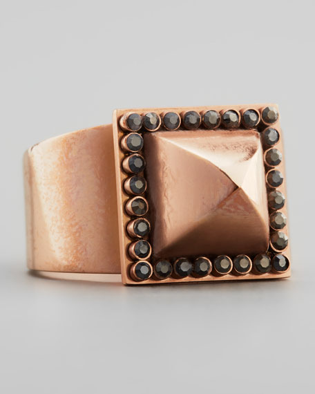 Rose Golden Pave Pyramid Stud Ring