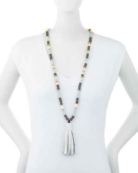 Long Beaded Necklace with Leather Tassel