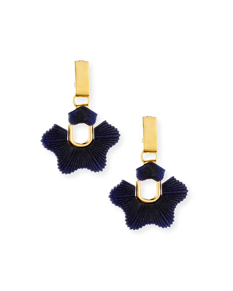 Sculpted Sugarbush Statement Earrings, Dark Blue