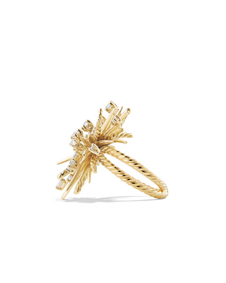 33mm 18K Gold Spray Ring with Diamonds, Size 7