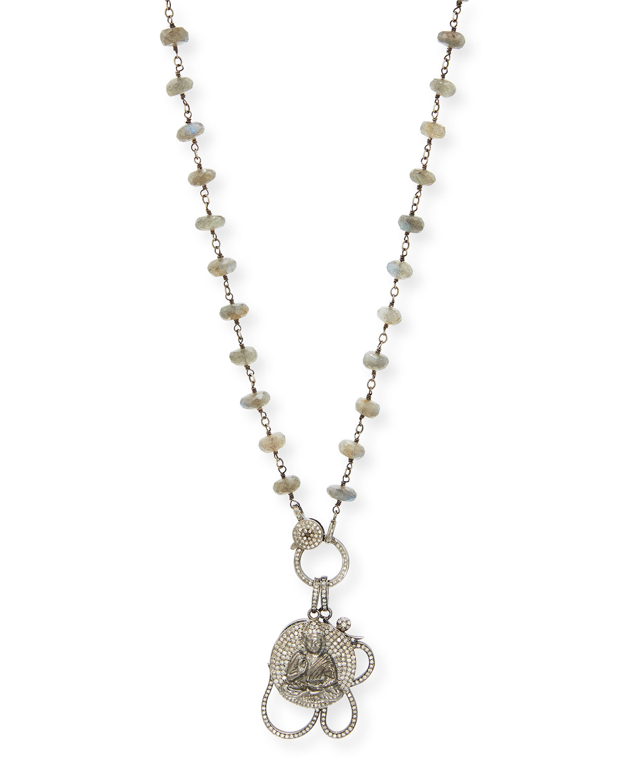 0f353b6710fe55 Sheryl Lowe Labradorite Wire Wrap Necklace with Diamond Pave Om and Buddha  Pendant