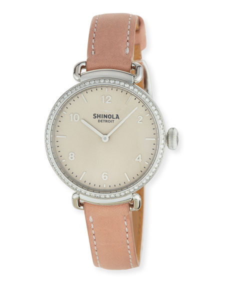 Shinola 32mm Canfield Watch with Diamonds, Blush
