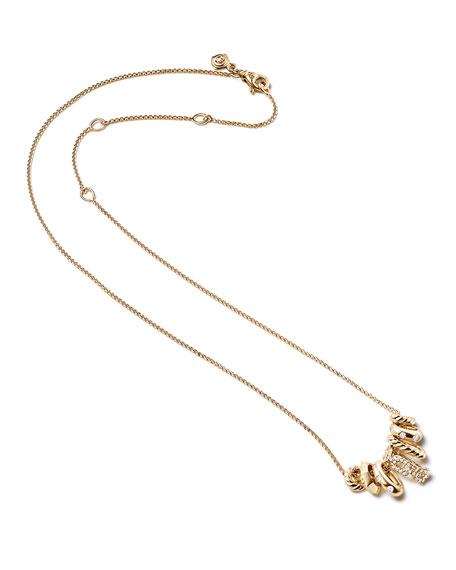 David Yurman Stax Small 18K Multi-Pendant Necklace with Diamonds