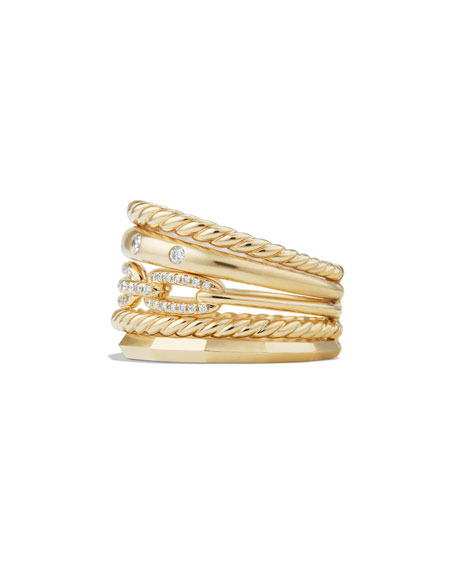 Stax 18k Gold Wide Ring with Diamonds, Size 7