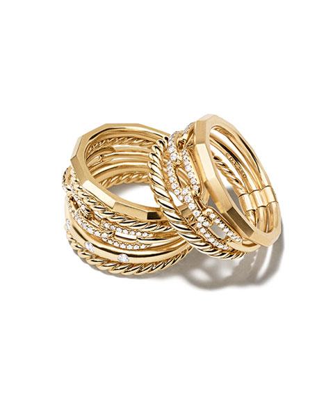 David Yurman Stax 18k Gold Wide Ring with Diamonds, Size 7