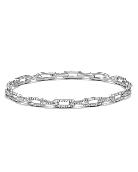 Stax Chain Link Bracelet in 18k White Gold w/ Diamonds