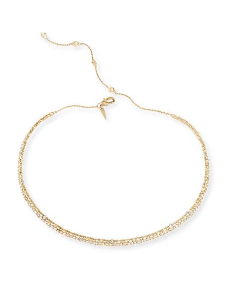 Crystal Spike Choker Necklace, Golden
