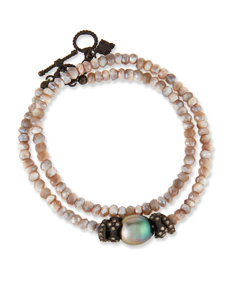 Armenta Old World Mystic Moonstone & Pearl Bracelet with Champagne Diamonds