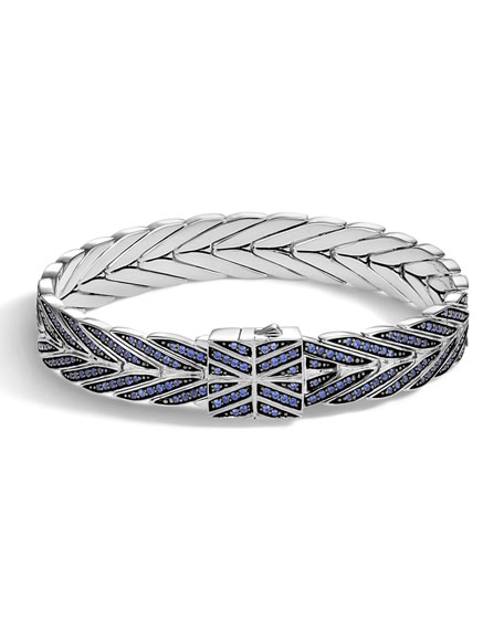 John Hardy Modern Chain Medium Bracelet with Blue Sapphire Clasp