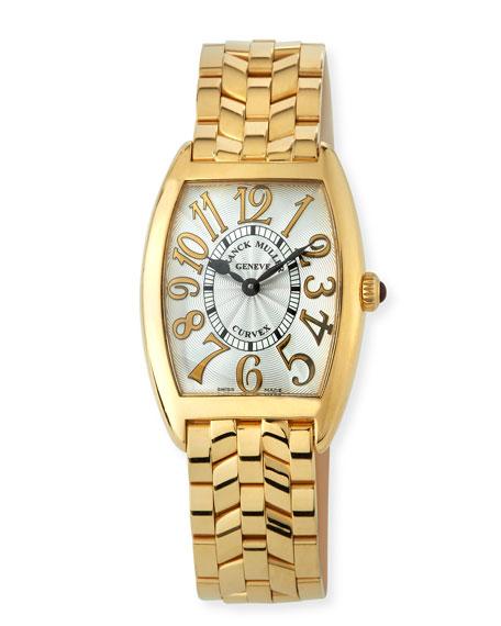 Franck Muller Cintree Curvex 18k Gold Bracelet Watch, Gold/White