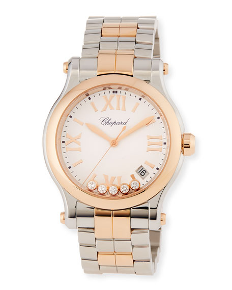 Happy Sport 18k Rose Gold & Stainless Steel Watch w/ Diamonds
