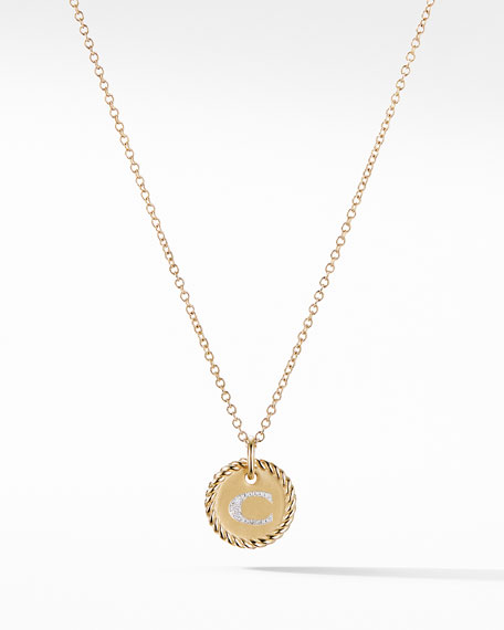David Yurman Initial C Cable Collectible Necklace with Diamonds