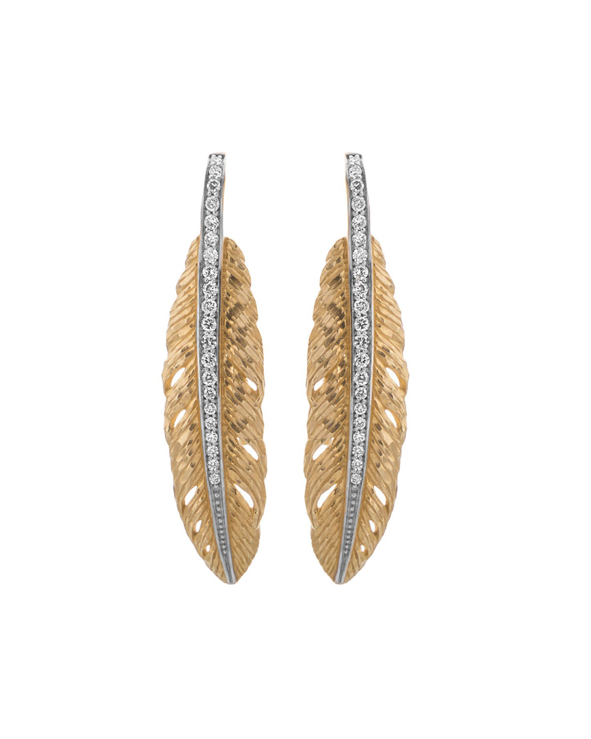Michael Aram 18K Gold Drop Feather Earrings with Diamonds
