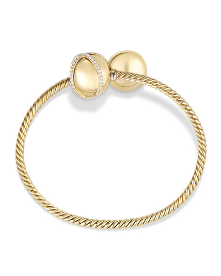 Solari Bypass Bracelet with Diamonds in 18K Gold, Size M