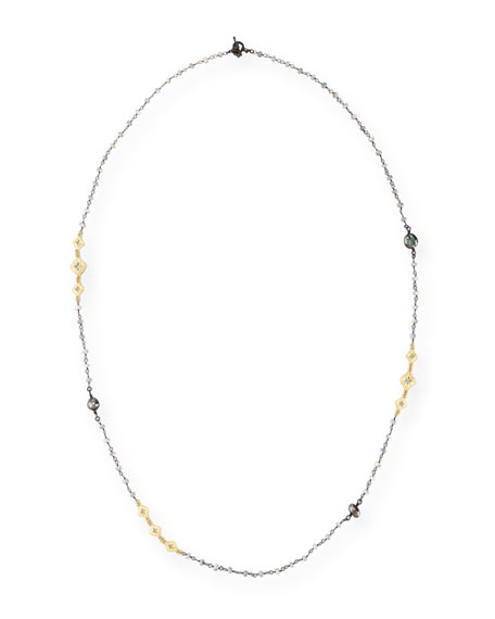 Armenta Old World Mystic Moonstone & Keshi Pearl Station Necklace