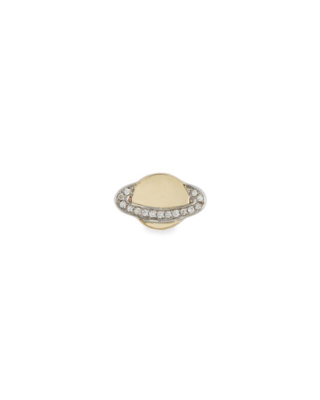 Sydney Evan 14k Small Saturn Stud Earring w/