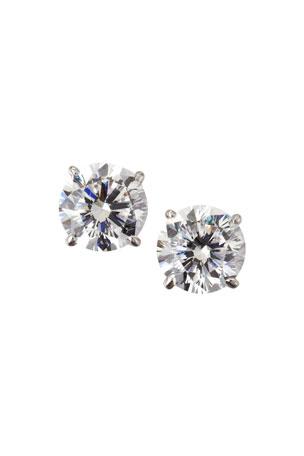 Fantasia by DeSerio 14k White Gold Cubic Zirconia Stud Earrings, 2.5 TCW